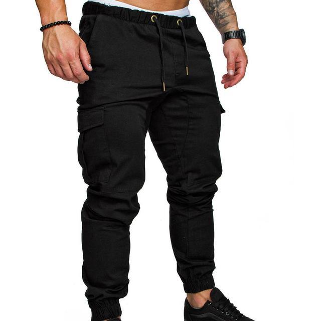 Pantalones informales para hombre, ropa de calle con bolsillos, cordón de cintura, tobilleros, ajustados, Cargo 4