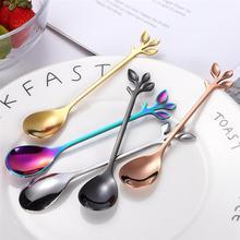 Coffee Spoon Tableware Scoop-Fork Handle Dessert-Snack Kitchen-Accessories Leaf-Shape