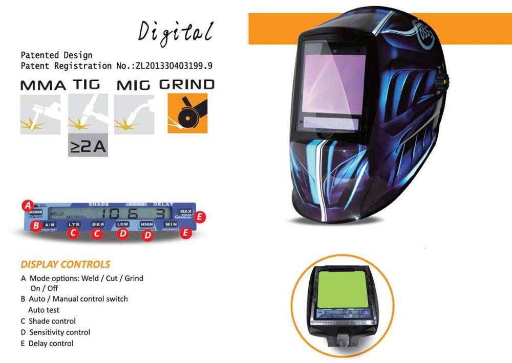Máscara de soldadura de escurecimento automático 3 vista windows tamanho 100x93mm (3.94x3.66 ) din 4 13 óptico 1111 5 sensores ce capacete de soldagem - 6