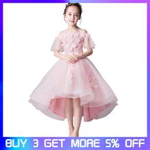 Girls dress Elegant Wedding Flower Dress Princess Party Pageant Formal Trailing Kids Lace Tulle