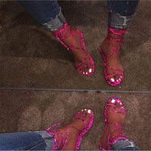 Women Flat Thong Sandals Candy Color Corss Tied Female Bohemia Lace Up Casual Be