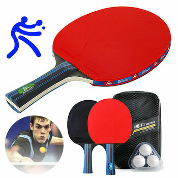 2pcs/lot Table Tennis Bat Racket Double Face Pimples In Long Short Handle Ping Pong Paddle Racket Set With 3 Balls + Bag 2pcs ping pong racket table tennis blade long short handle pingpong bat set with 3 balls double face pimples in rubber blades