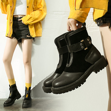 Fashion Combat Boots For Women 2019 New Martin Leather Black Soft Autumn Ankle Platform Rubber