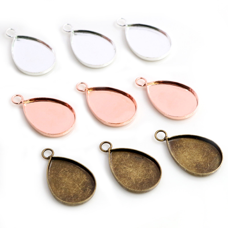 20pcs 13x18mm Inner Size 3 Colors Plated Drop Style Brass Cameo Cabochon Base Setting Charms Pendant Necklace Findings