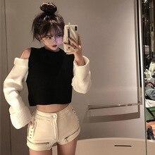 JOYINPARTY контрастный цвет без бретелек пуловер Трикотаж Короткий укороченный Топ свитер осень корейский Повседневный сексуальный джемпер Pull Femme