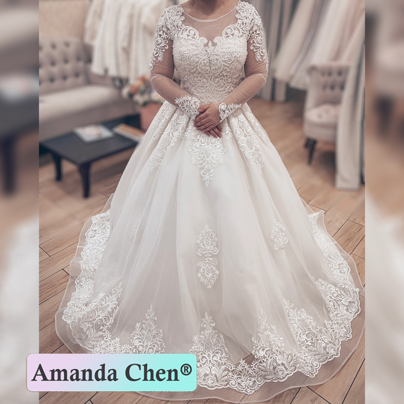 New Design Long Sleeve Lace Ball Gown Custom Made