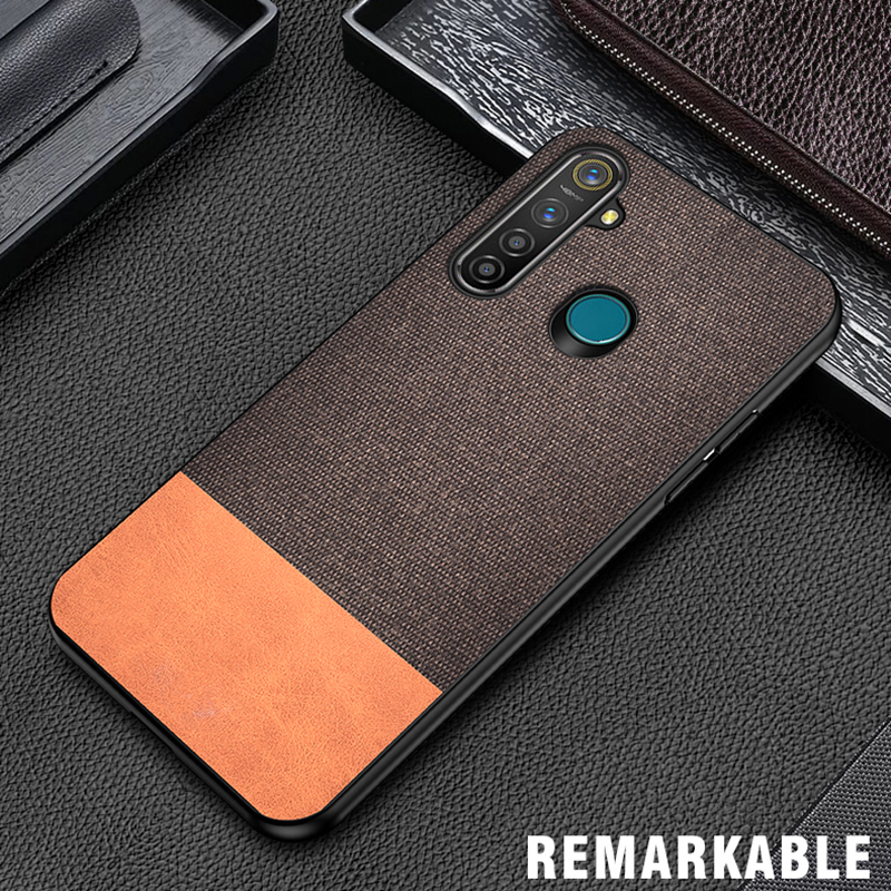 iKrsses For <font><b>OPPO</b></font> <font><b>Realme</b></font> 5 Pro PU Simple Cloth Hard Backshell Soft Border <font><b>Phone</b></font> Case For <font><b>Realme</b></font> 3 Pro <font><b>Realme</b></font> XT Q <font><b>X</b></font> lite X2 Cover image