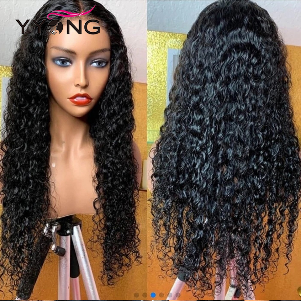 YYong 1x6 T Part Lace  Water Wave HD Transparent  Lace Wigs  Part Lace Wigs Long 32inch 120% 4