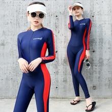 Polyester Diving wetsuit Quick Dry Rash guard Long sleeve one piece swimwear women swimsuit surf Suit Women Men Beach UV UPF 50+