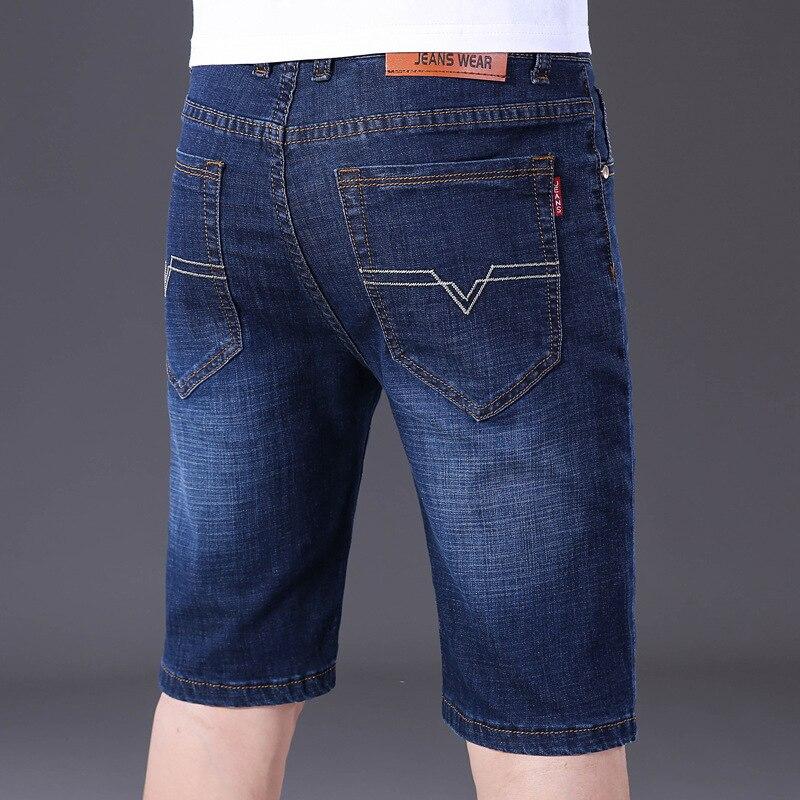 Business Men's Elasticity Jeans Fashion Comfortable Medium Waist Slim Fit Straight-Cut Shorts Youth Short Business Shorts Men's