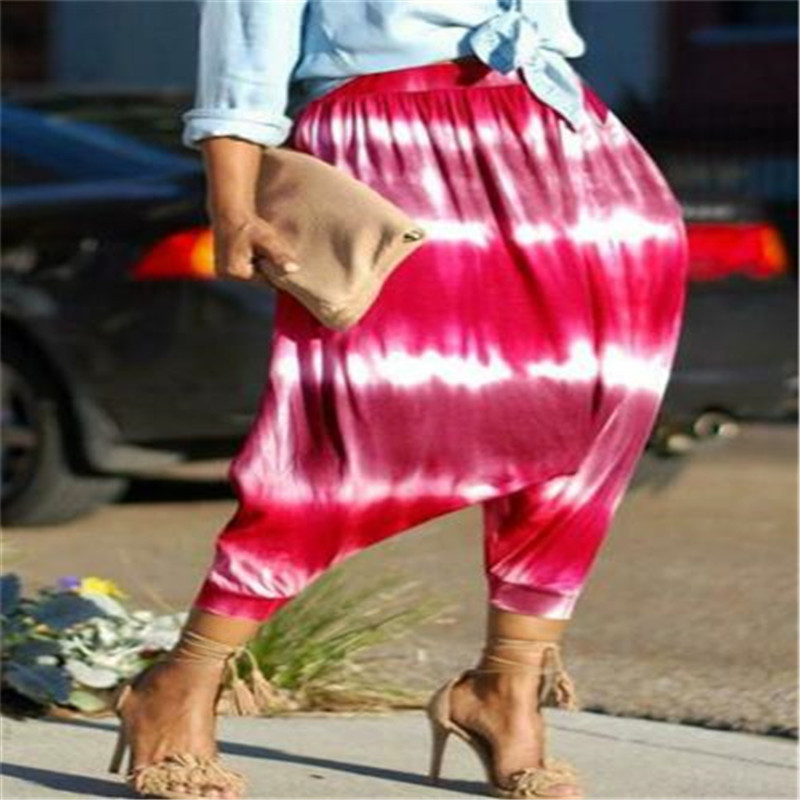 Fashion Ethnic Style Loose Pants Women Casual Wide Stripe Print Trousers Ladies High Waist Harem Pant 4 Colors Women's Trousers