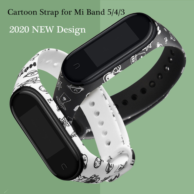 cartoon strap of Xiaomi Mi Band 5 4 6 3 Strap Fashion Soft Silicone strap band 4 5 3 Bracelet Wristband For xiomi band 5 6 strap 3