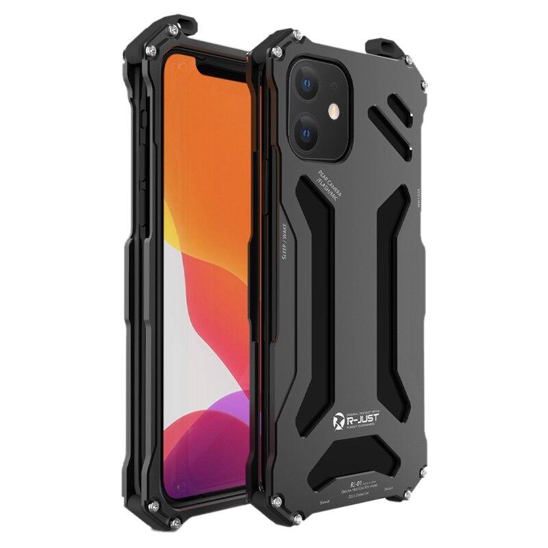 Caso de luxo para iphone 12 se 2020 metal alumínio resistente armadura capa para iphone 11 xs x pro max 8 7 plus à prova de choque dropproof amortecedor quadro Caso de telefone & Covers    -