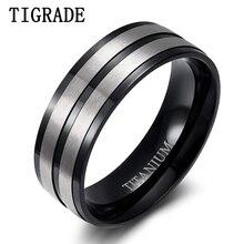 Tigrade Titanium Rings for Men 8mm Matte Black Engagement Wedding Band Male Comfort Fit Plus Size 5- 14 anillos hombre