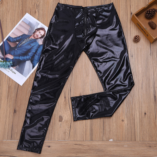 Mens Black Glossy Patent Leather Front Zipper Bulge Pouch Legging Pants Sexy Low Rise Elastic Waistband Slim Fit Long Trousers 5