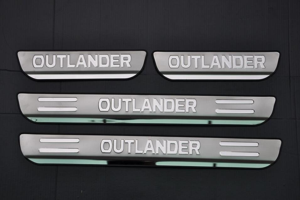 Placa de chinelo do peitoril da porta de aço inoxidável para mitsubishi outlander 2013-2018