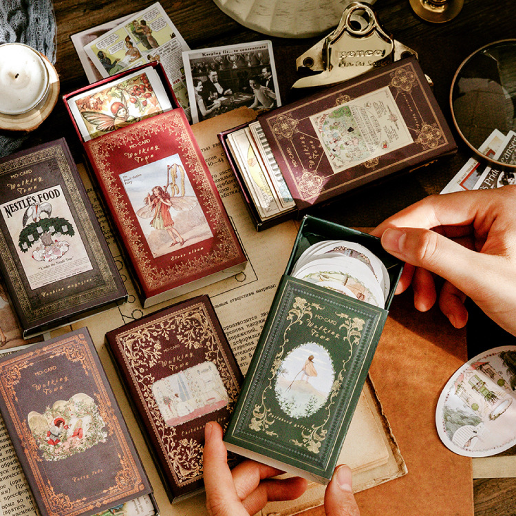 60pcs/box Walking Town Series Bullet Journal Decorative Stationery Stickers Scrapbooking DIY Diary Album Retro Fairy Stick Lable