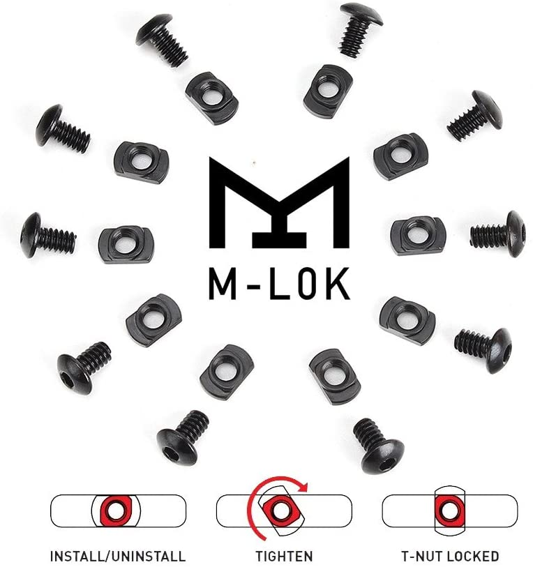 10 Pcs/lot M-LOK Screw And Nut Replacement For MLOK Handguard Rail Sections Hunting Gun Accessories