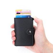 2020 nuevo portatarjetas de Banco minimalista RFID antirrobo Metal aluminio cartera Mini hombres y mujeres negro Tarjeta de Crédito de negocios