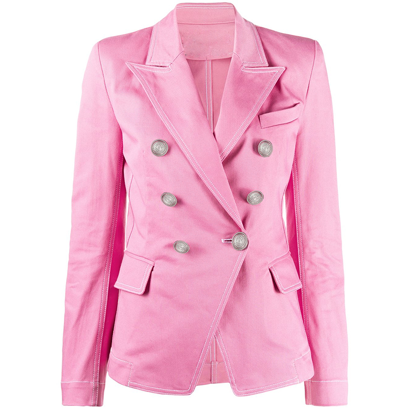HIGH QUALITY Newest 2020 Designer Blazer Women's Double Breasted Lion Buttons Top Stitching Contrast Pink Denim Jacket Blazer