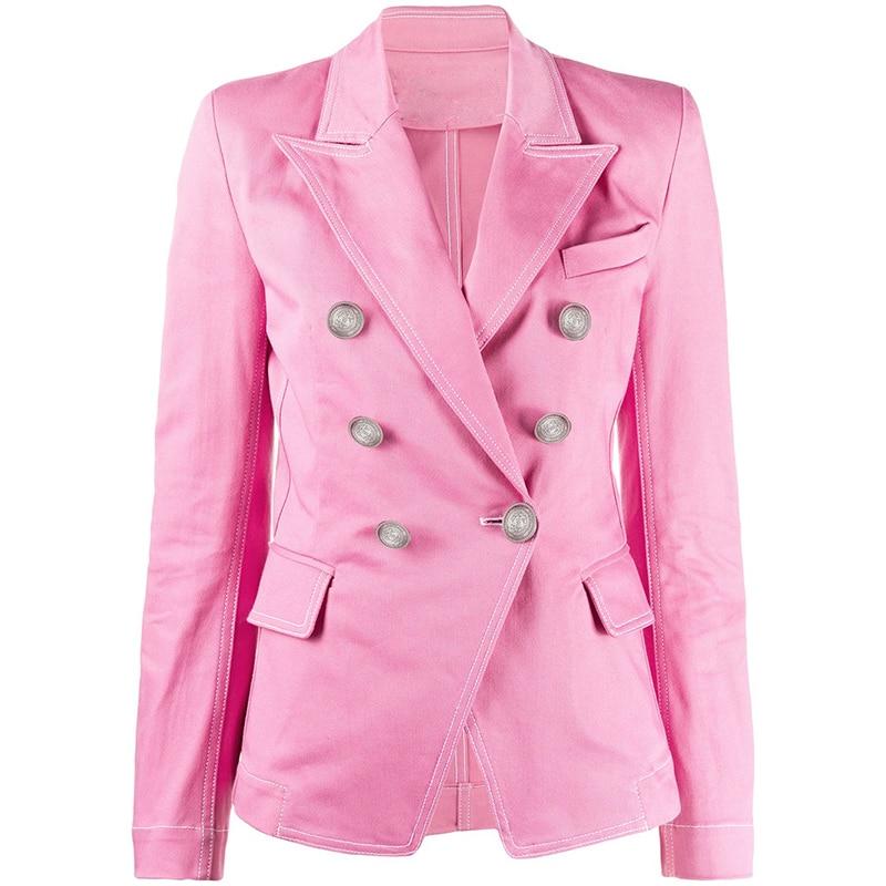 HIGH QUALITY Newest 2020 Designer Blazer Women's Double Breasted Lion Buttons Top Stitching Contrast Pink Denim Jacket Blazer