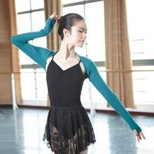 Nowy 6 kolorów kobiet balet Top kostium taneczny dorosłych rozgrzewka dzianiny wzruszenie ramion jesień zima z długim rękawem sweter w stylu Crop topy