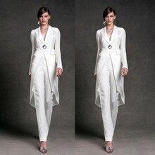 Dresses Weddings Mother-Of-The-Bride Jacket Pants Groom White Long Sheath Floor-Length
