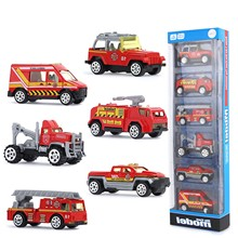 1:64 Car Model Toy Gift Set City Rescue Team Real Metal Classic Gift Bag 6 Collectible Fire Truck Cars Boy Birthday Toys Gift