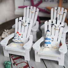Silla de velero creativa, figuritas, silla de madera, pino artesanal, Faro, decoración de playa en miniatura, regalo bonito para decoración del hogar
