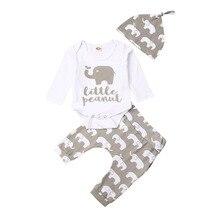 0-24 мес. + Новорожденный + ребенок + девочка + мальчик + одежда + комплекты + длинный + рукав + комбинезон + слон + принт + брюки + шляпа + наряды