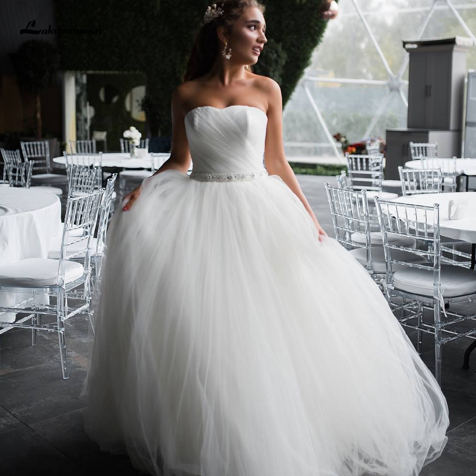 Lakshmigown Elegant Strapless Beach Wedding Dress Plus Size 2020 Robe De Mariee Courte Sexy White Bridal Gowns With Beaded Sash