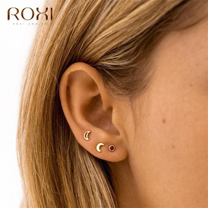ROXI 100% 925 Sterling Silver Jewelry Fashion Cute Tiny Crescent Moon Stud Earrings For Women Korean Minimalist Earrings Jewelry