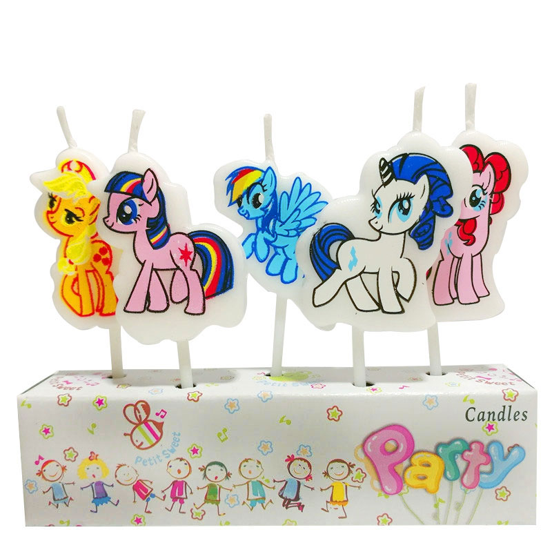 5Pcs/Set Cartoon My Little Pony The New Creative Cartoon Birthday Candles Holiday Party Cake Decorating Party Supplies(China)