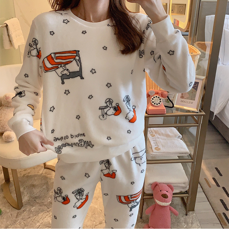 [YD # Series Collection] Wechat Business Hot Selling Pullover Plus Velvet Little Fairy INS-Style Pajamas Tracksuit Two-Piece Set