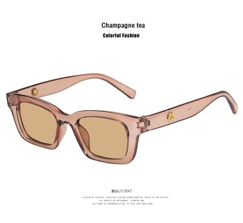 2021 New Women Rectangle Vintage Sunglasses Brand Designer Retro Points Sun Glasses Female Lady Eyeglass Cat Eye Driver Goggles - Champagne