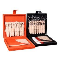 Caja de tijeras de peluquería de alta gama kit de estilista de cuero genuino estuche de cuero tijeras bolsa de almacenamiento para estilizar el cabello