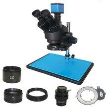 Microscope trinoculaire stéréo vidéo 13mp VGA HDMI, Microscope à simulateur de focale dobjectif 7x45x, LED lumières réglables pour réparation de téléphones