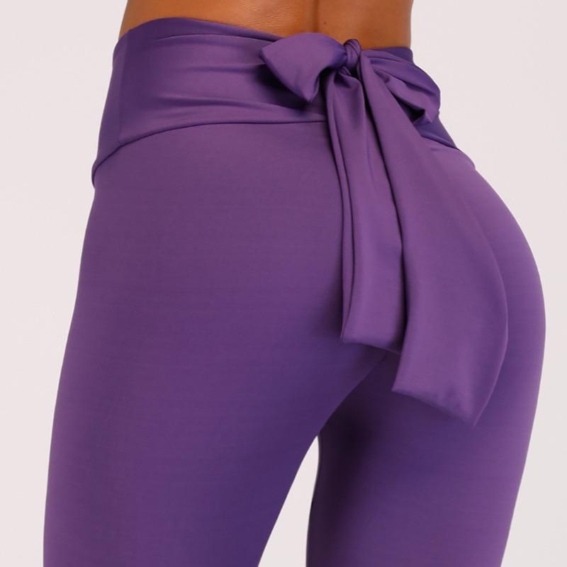 Leggings Sport Women Fitness Fashion Ladies Bandage Bow Tie Pure Color Hip Lifting Elastic Fitness Running Gym Leggings Pants