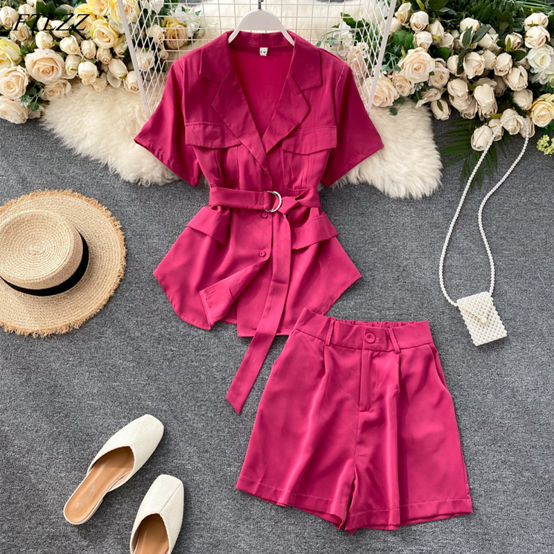 FTLZZ New Summer Women Office Lady Turn Down Collar Single Breasted Blouse Elastic Waist Shorts Two Piece Set With Belt