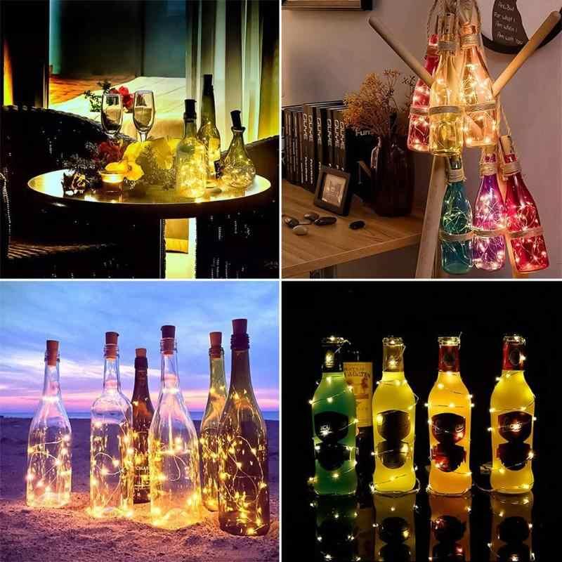 1/2 متر LED زجاجة نبيذ الجنية سلسلة ضوء الفلين على شكل النحاس والبلاستيك الحبال ضوء متعدد الألوان لعيد الميلاد ديكور حفلة عيد الميلاد