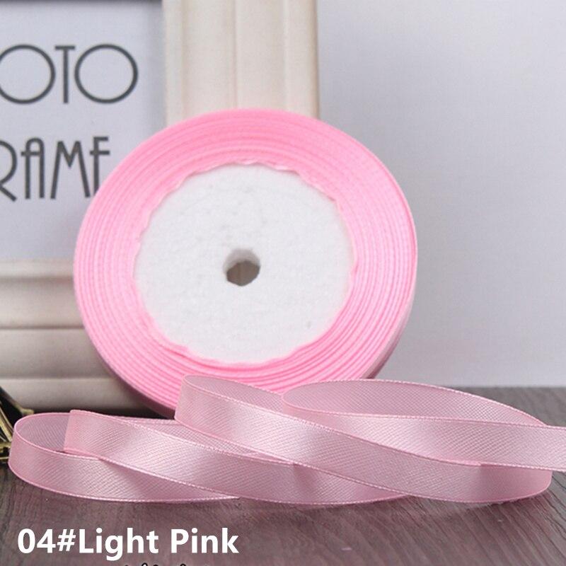 25 ярдов/рулон 6 мм 10 мм 15 мм 20 мм 25 мм 40 мм 50 мм шелковые атласные ленты для рукоделия бант ручной работы подарочная упаковка вечерние свадебные декоративные - Цвет: 04 Light pink
