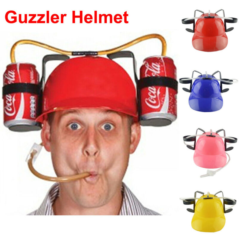 Lazy Lounged Straw Cap Birthday Party Cool Unique Toy Prop Holder Guzzler Helmet Drinking Beer Cola Coke Soda Miner Hat