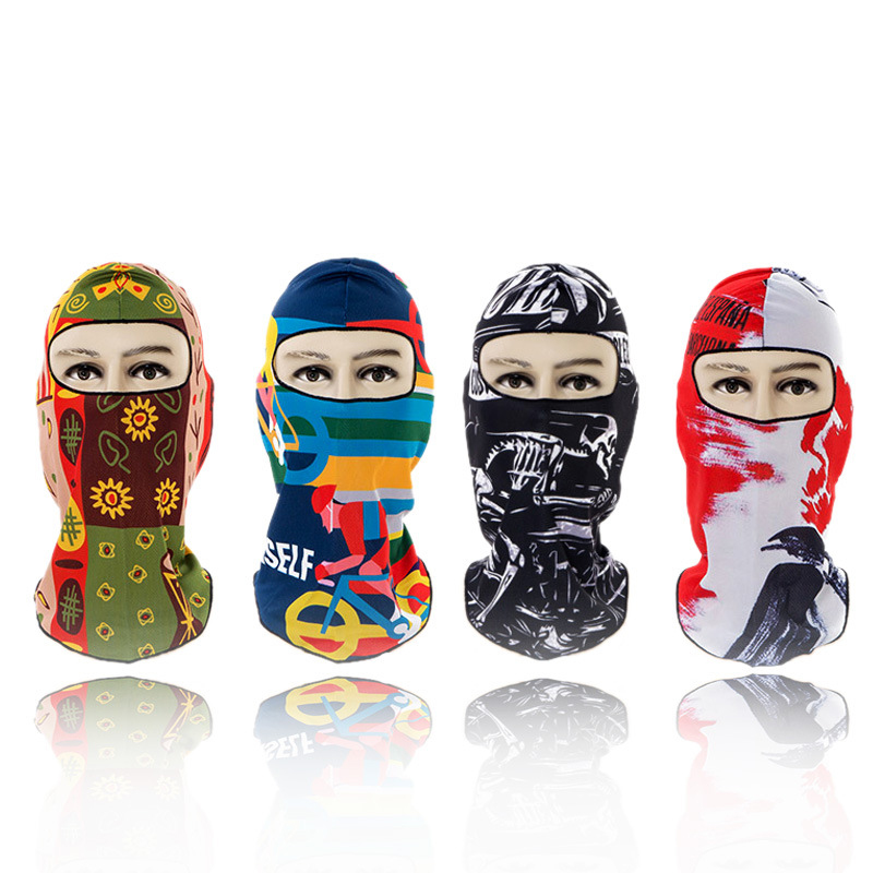1pc Print Breathable Fit Summer Cool Balaclava Face Mouth Mask Man Women Unisex Outdoor Cycling Mask Black Mask Mouth Head Cover