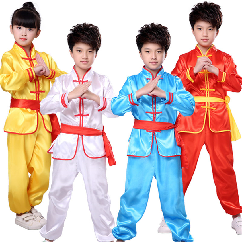 Kids 100-170cm Chinese Traditional Kung Fu Uniforms Short&Full Tai Chi Wu Shu Costumes Children Stage Performance Clothes