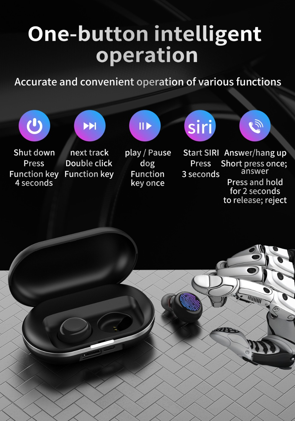 Clearance Touch Headset Wireless Bluetooth 5.0 Earphone Stereo Bluetooth Earbuds Handsfree Earbuds AI Control for Smart Phone