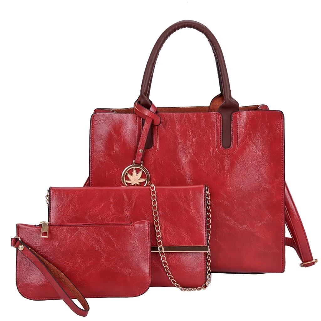 Ensemble sacs 3 pièces mode en cuir PU dames sac à main 64