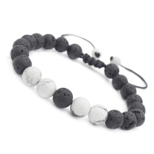 Unisex White/Blue Natural Stone Lava Stone Bead Bracelets for Men Women Charm Adjustable Hand Jewelry Gift DropShipping все цены