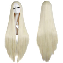 MapofBeauty 100cm Long Straight Hair Cosplay Black White Brown Blonde Colored Heat Resistant Synthetic Wigs for Women Party