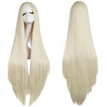 MapofBeauty 100cm uzun düz saç Cosplay siyah beyaz kahverengi sarışın renkli isıya dayanıklı sentetik peruk kadınlar için parti