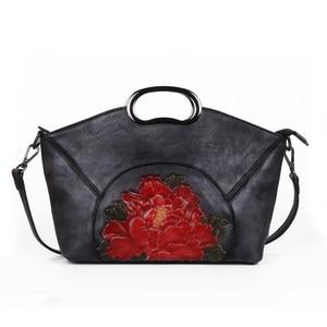 Image 5 - Johnature sacs à main de luxe femmes sacs Vintage haute qualité en cuir véritable 2020 nouveau fait à la main gaufrage épaule et sacs à bandoulière